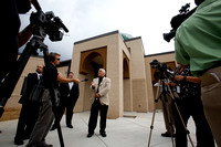 Essam Fathy talks with the press before the first service in the new Islamic Center in Murfreesboro, Tennessee